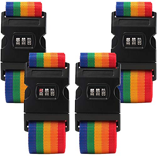 Temormats Suitcase Luggage Straps 4 Pack Adjustable Rainbow Luggage Packing Belt with Password Lock Clip