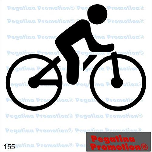 Piktogramm Radfahrer Typ 155 Icon Symbol Zeichen Fahrrad Fahrradständer Radweg Aufkleber Sticker ca.15cm von Pegatina Promotion® Aufkleber mit Verklebehilfe von Pegatina Promotion® ohne Hintergrund geplottet
