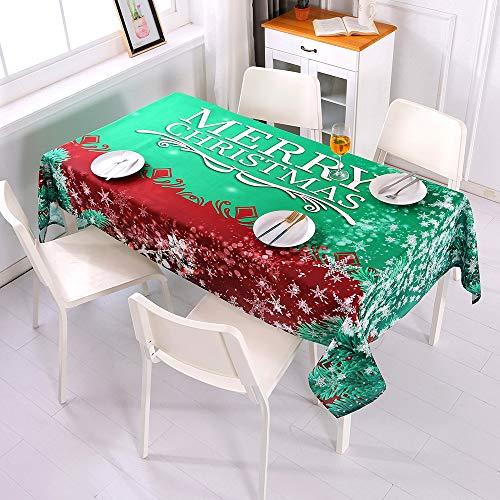 Topmail Mantel Navideño para Mesa Antimanchas Rectangular Cubierta de Mesa para Navidad en Poliéster Mantel para Comedor Cocina Verde Rojo 140x220cm