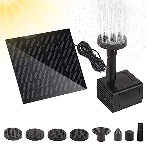Fuente Solar Bomba, Solar Fuente, Bomba Agua Solar, Fuente Solar Flotante, Fuente Solar Jardín, Panel Solar Flotante con 6 Boquillas, para Jardín, Estanque, Acuario