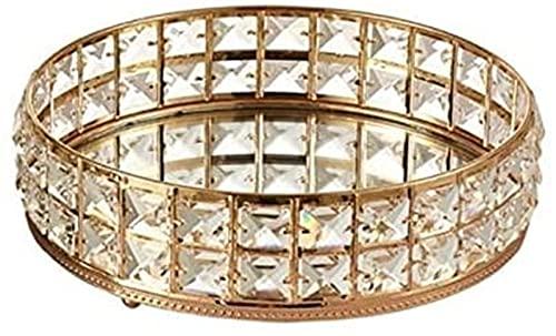 Bandeja de cristal redonda plateada para cosméticos con dos capas, organizador de joyas brillante, bandeja decorativa para mesa de baño (color oro)