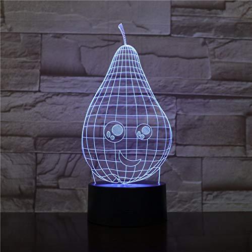 BFMBCHDJ Cartoon Birne 3D Led Lampe Nachtlicht USB Touch RBGW Neuheit Beleuchtung Kind Kinder Baby Geschenk Gadget Obst Tisch Dekor