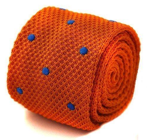 Frederick Thomas tricoté orange et bleu roi pointillé cravate