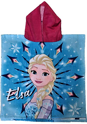 DIISNEY Mädchen Charakter Elsa Kapuzenponcho Sparkle The Magic Velours Feel Handtuch