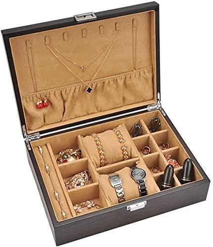 Joyero, joyero de madera, caja de joyería de gran capacidad, pestañas, muy práctico, caja de joyería de señoras