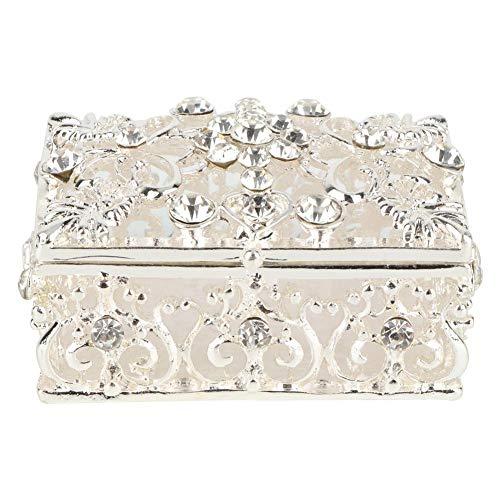 Caja de baratija Hueca, Caja de joyería Vintage Cajas de baratija de joyería esmaltadas bisagras para Mujeres niñas 3 x 2,6 Pulgadas