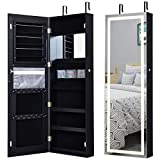 Giantex Jewelry Cabinet Box Armoire Door Wall Mount Lockable Touch Screen Light Built-in Zipper Pocket Inside Makeup Mirrored Storage Jewelry Box Armoires with Lipstick Holder (Black)