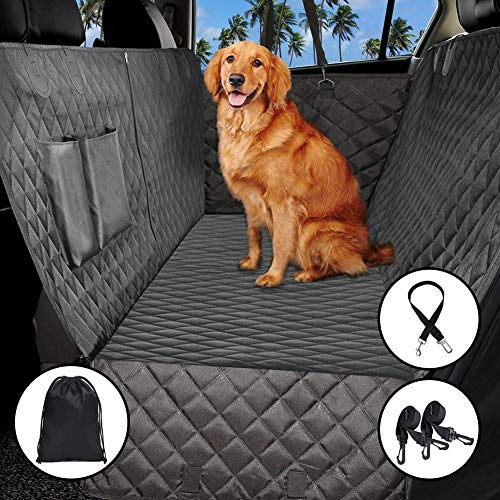 ADOV Dog Car Seat Cover, Heavy Duty Waterproof Scratch Proof Pet Travel Hammock with Seat Belt, Machine Washable Durable Nonslip Soft Padded Back Seat Protector Mat Fits All Cars Trucks SUVs
