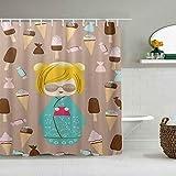 Duschvorhang Einzigartige japanische Kokeshi Sommerpuppe Illustration mit leckerem EIS & süßen Süßigkeiten wasserdichte Badevorhang Haken enthalten - Badezimmer dekorative Ideen