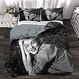 Marilyn Monroe Duvet Cover Set, 3D Printed Bedding Sets Decor Duvet Cover with Four Corner Straps, Decorative 3 Piece Bedding Set with 2 Pillow Shams, King Size