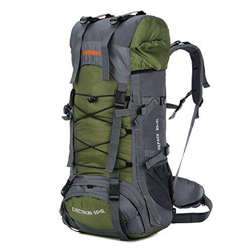Minetom 75L Grande Capacità Zaino Ciclismo Campeggio Viaggio Escursionismo Montagna Alpinismo Tactical Backpack Impermeabile Verde One Size(30*20*70 Cm)