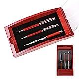 polar-effekt Schreibset Borkum inklusive Gravur - Dreh-Kugelschreiber Füllfederhalter und Brieföffner - Geschenk-Etui aus Holz - Glas