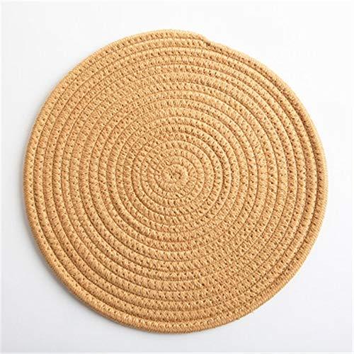 GUOCAO Coaster Table Mat Isolierung Schüssel Pad weicher handgefertigte ovale runder Entwurf Baumwolle Antiverbrühschutz Platzdeckchen Beleg Küchenzubehör Matte (Color : 2, Size : Round)
