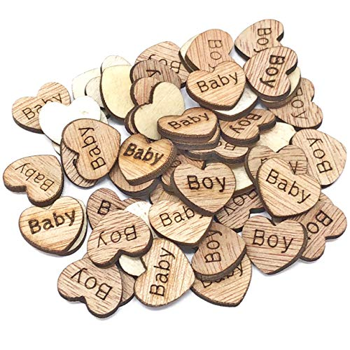 Lot de 50 cœurs en bois de 15 mm avec inscriptions « Baby » et « Boy », style shabby-chic pour loisirs créatifs, scrapbooking, décorations vintage, Bois dense, beige, 15 mm