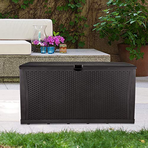"KOOLWOOM Deck Box, 120-Gallon Patio Outdoor Plastic Storage 47.2"" L x 24.01"" W x 24.80"" H Waterproof Brown"