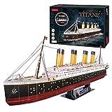 Maqueta Titanic para Montar, Puzzle 3D LED Barco, Puzzles 3D Barcos, Maquetas para Construir Adultos y Niños, 266 Piezas, 240 Min De Montaje, Rompecabezas