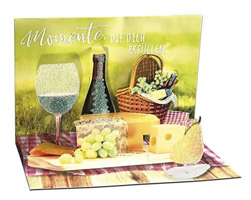3D Pop – UP Karte Geburtstag, mit Glitter, Geburtstagskarte 3D, POP - UP Karten, POP UP Karten Geburtstag, Motiv: Picknick
