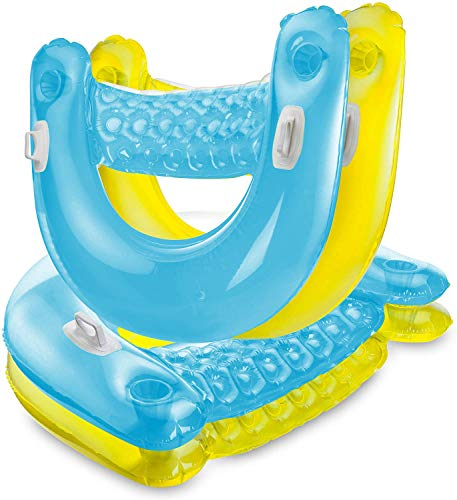 Inflatable Chair Floats with Cup Holders [Set of 4] Sit 'N Float Inflatable...