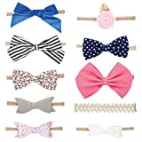 Parker Baby Girl Headbands and Baby Bows, Assorted 10 Pack of Hair Accessories for Girls -'The Essentials Set'
