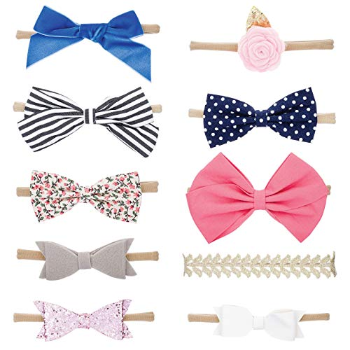 Parker Baby Girl Headbands and Baby Bows, Assorted 10 Pack of Hair Accessories for Girls -The Essentials Set