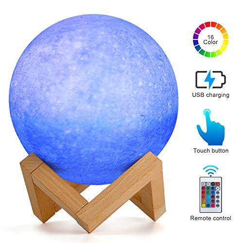 15cm Lampada Mercurio Planet, AMZJUPWM 3D Stampa 16 colori con Supporto, Touch Control e Luce Notturna Portatile USB Ricaricabile per Decorazione Ddomestica e Regali per Bambini, Amici (Mercurio)