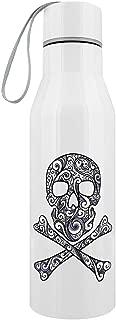 Graphic Skull & Crossbones Stainless Steel Water Bottle White 6.5 x 23.5cm