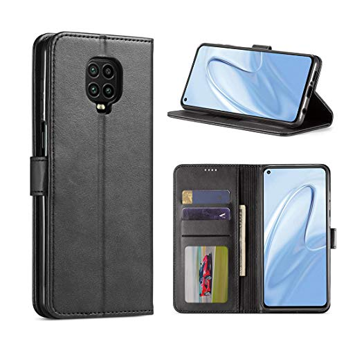 CRESEE Redmi Note 9S / Redmi Note 9 Pro Hülle, PU Leder Handyhülle mit 3 Kartenfächer, Schutzhülle Hülle Tasche Magnetverschluss Flip Cover Stoßfest für Xiaomi Redmi Note 9S/ 9 Pro (Schwarz)
