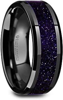 Black Ceramic Wedding Ring with Purple Goldstone Inlay Polished Finish and Beveled Edges 8mm Band