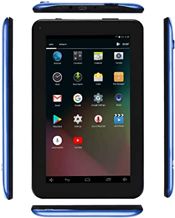 $45 Get Haehne 7 Inches Tablet PC - Google Android 5.1 Quad Core, 1024 x 600 Screen, 2.0MP 0.3MP Dual Camera, 1G RAM 8GB ROM, 2800mAh, WiFi, Bluetooth (Blue)