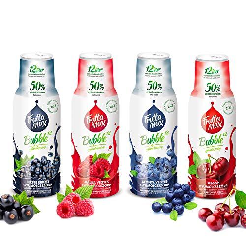 Frutta Max Getränkesirup Frucht-sirup Konzentrat | Heidelbeere-Himbeere-Kirsche-Johannisbeere | weniger Zucker | mit 50% Fruchtanteil 4erPack(4x500ml)