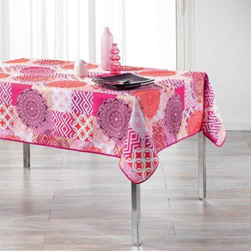Nappe rectangulaire 150x240 cm antitache Flamenco rose