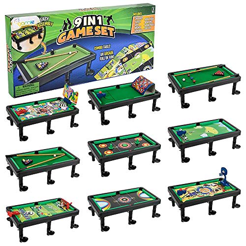 Gamie 9 in 1 Tabletop Game Set, Includes Gaming Table & Accessories for Pool, Soccer, Basketball, Bowling, Hockey, Target, Golf, Handball, and Snooker Game, Great for Game Nights, Best Gift for Kids