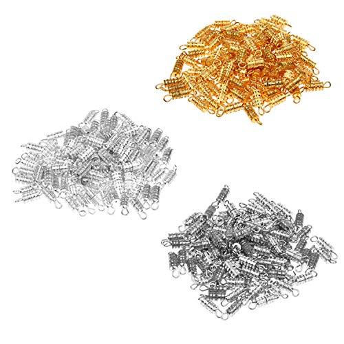 Cierres de tornillo de barril 300x con fusión ecológica - para la fabricación y reparación de joyas - Conector recomendado para collares, pulseras, tobilleras DIY - 4x15 mm - Plateados/Dorados/Acero