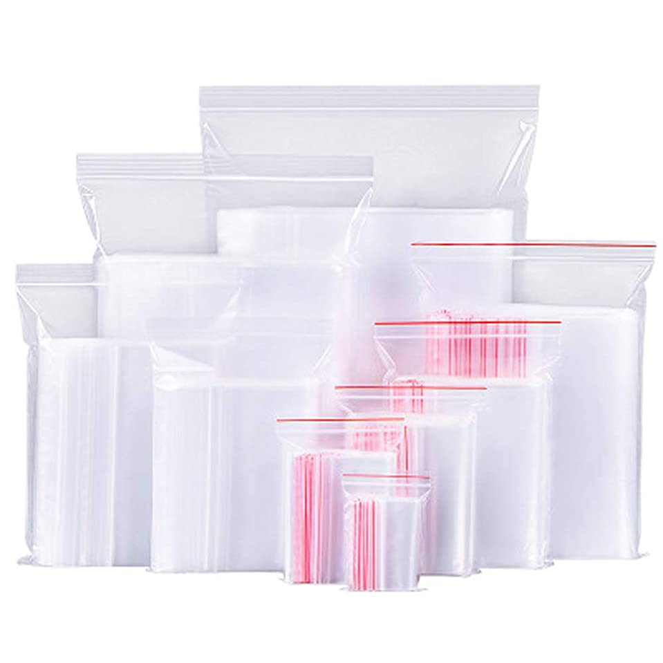 有害クラブなめらか100ピースホワイト透明反復可能ジッパージッパープラスチックジップロックバッグジッパーロック再ロック可能なビニール袋 (クリア)