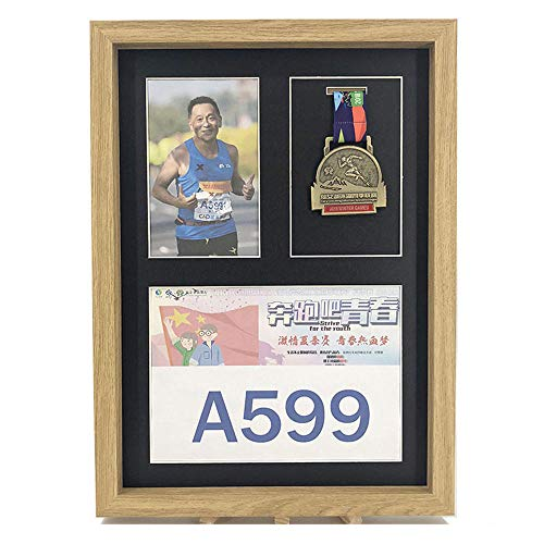 FTYYSWL A3 formaat Marathon houten medaille display frame creatieve badge montage fotolijst medaille opbergdoos set up muur fotolijst-E