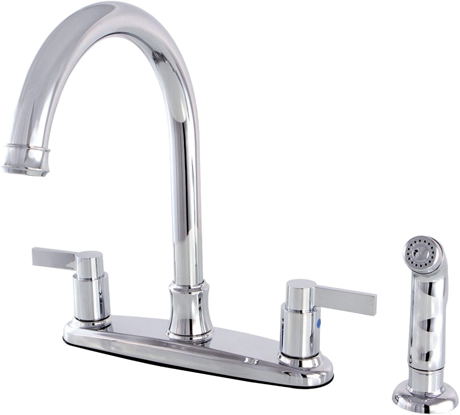 Kingston Brass FB7791NDLSP NuvoFusion 8-inch Centerset Kitchen Faucet, Chrome