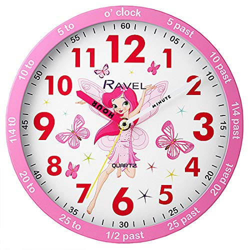 Ravel Quarz-Wanduhr für Kinder, Motiv: Fee Time Teacher, Rosa