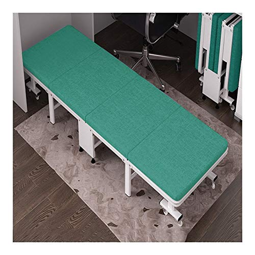 GYYARSX Folding Bed Single Person Office Lunch Break Bed High Density Sponge Pad Thickened Hard Board Bed Foldable Portable Four Fold Bed, 2 Colors, 2 Sizes (Color : Green, Size : 190X70X30CM)