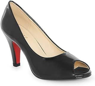 Ceriz Women's Lerenia Black Peeptoe Stilettos