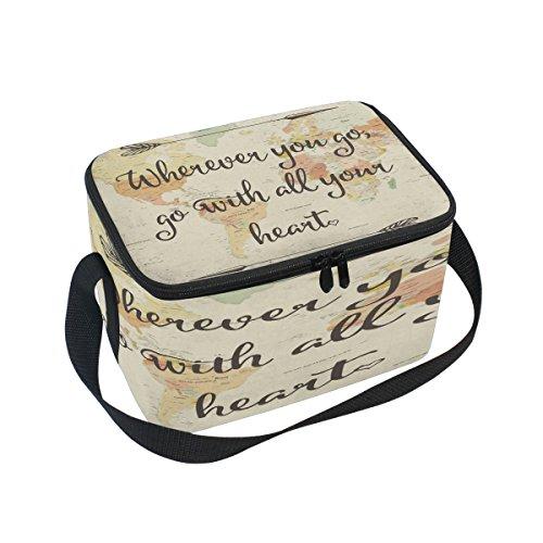 Use7 - Bolsa de Almuerzo con Citas de mapamundi de Estilo Vintage, Aislante, para Picnic, Escuela, Mujeres, Hombres y niños