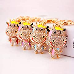 SIZE(approx):Cow Pendants Size:3.1*5.1cm/1.2*2inches;Total Length:12cm/4.7inches.Please allow size differences about 1-3cm.Perfect size for kids and adults. Material:Made of alloy metal and decorated with sparking multi-colored crystal rhinestones. W...