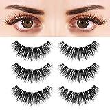 BEPHOLAN 3 Pairs False Eyelashes Synthetic Fiber Material| 3D Mink Lashes| Cat Eyes Look| Reusable| 100% Handmade & Cruelty-Free| XMZ91