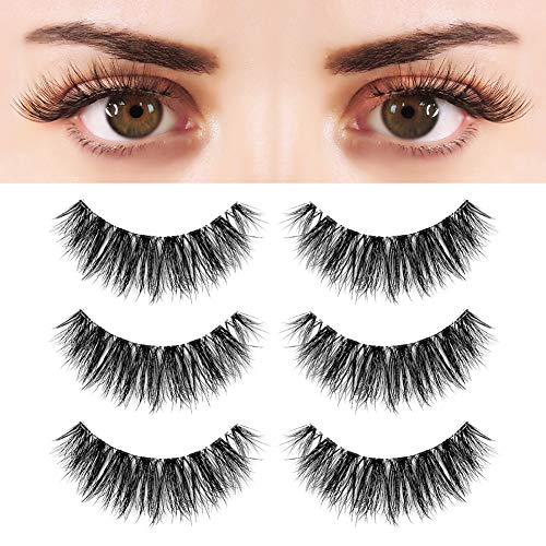 BEPHOLAN 3 Pairs False Eyelashes Synthetic Fiber Material| 3D Mink Lashes| Cat Eyes Look| Reusable| 100% Handmade & Cruelty-Free| XMZ91