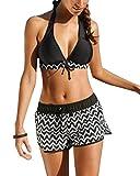 ShiFan Donna Halter Costume Da Bagno Taglie Forti Piscina Beachwear Due Pezzi Tankini Nero L
