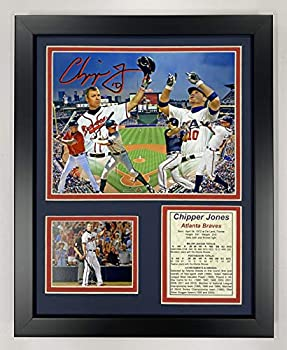 Legends Never Die Chipper Jones- Atlanta Brave and Team USA Legend Collectible   Framed Photo Collage Wall Art Decor - 12 x15