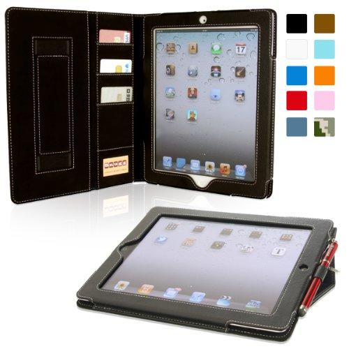 Snugg iPad Air 2 (2014)Executive Schutzhülle mit Kartenschlitzen, Leder Schutz Klapphülle Case Cover Ständer für Apple iPad - Schwarz