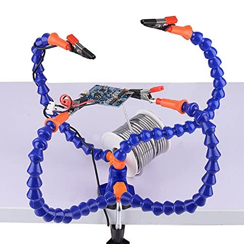Estación de soldadura de abrazadera de mesa de herramienta de soporte de PCB de soldadura manual con 4 piezas de brazos flexibles soporte de hierro de soldadura herramienta de reparación de soldadura