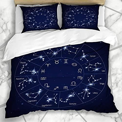 Conjuntos de ropa de cama Escorpio Horóscopo Zodiaco Constelación Mapa Leo Virgo Universo Astrología Estrella Cielo Capricornio Cosmo Funda de almohada de microfibra