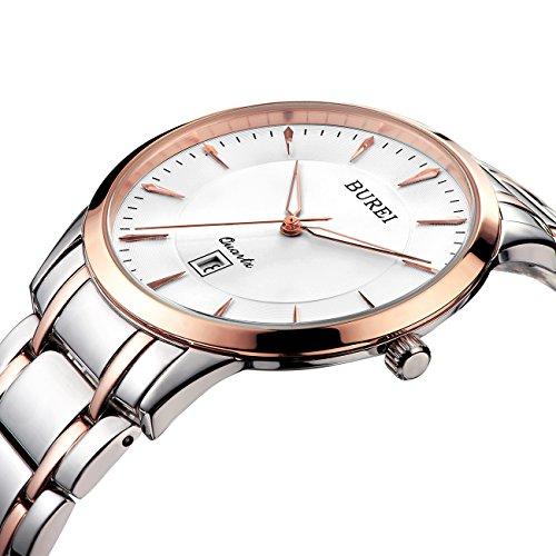 BUREI Montre Quartz Femme avec bracelet en acier inoxydable