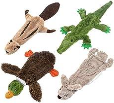 Best Pet Supplies 2-in-1 Fun Skin Stuffless Dog Squeaky Toy Medium (Wild Duck, Hare, Squirrel, Alligator Bundle) (PT07-08-45-47-M)